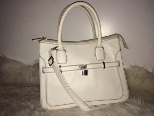 Zara Handbag white-natural white imitation leather