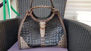 Alfredo Pauly Handbag grey-dark brown imitation leather