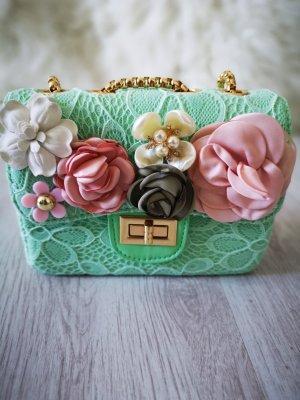 Handtasche aus Häkel Spitze Kettenriemen  NEU ✔ BLUMEN Flower und PERLEN und Gold Abendtasche Partytasche Umnhängetasche Schultertasche Blogger Tasche Hand Made