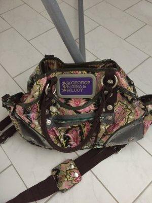 Handtasche aus Lack mit buntem Muster