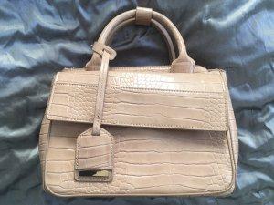 Handtasche beige/nude mit Kroko-Prägung und Schultergurt