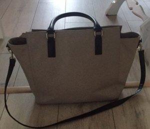 Handtasche beige schwarz Riemen Shopper