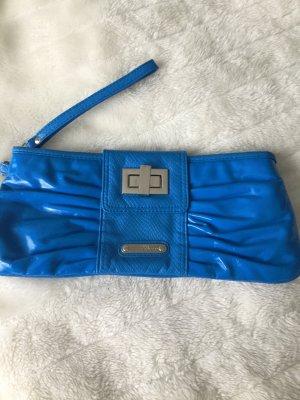 Handtasche blau / Clutch in Lackoptik blau