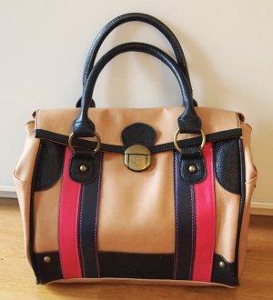 Handtasche / Bowling Bag in beige / camel mit Details in neon