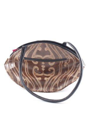 Handtasche braun-hellbraun abstraktes Muster extravaganter Stil