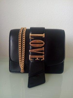 Handtasche Clutch H&M Gold Schwarz Love Umhängetasche