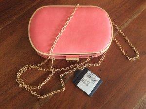 Handtasche , Clutch , Minihandtasche , Lachs mit Gold , Leder , Neu