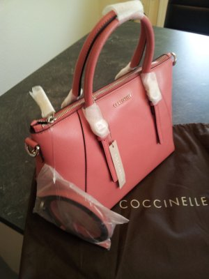 Coccinelle Handbag bright red-silver-colored leather