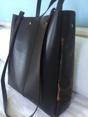 Handtasche, dunkelbraunes Leder, A4
