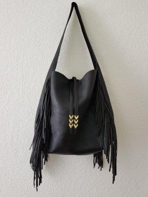 Handtasche Fransen schwarz/ gold