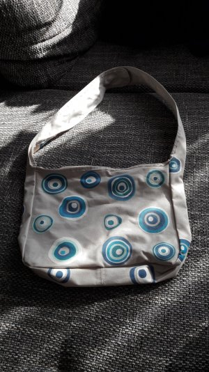 Handtasche grau blau Retro Stoff