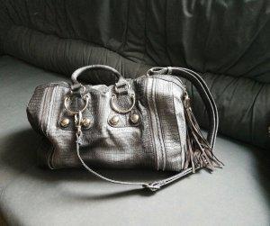Handtasche grau mit abnehmbaren Umhängegurt