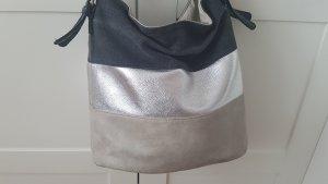 Handtasche Grau Silber Schwarz