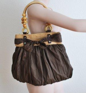 Handtasche, Hobos, braun, mit Holzperlen, 43 x 35cm, NEU