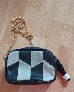 Handtas zwart-licht beige