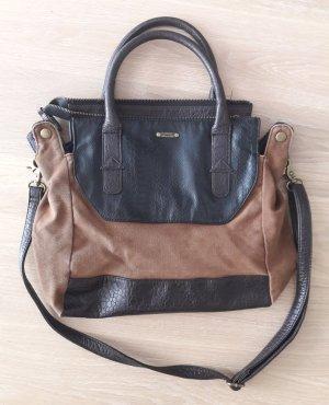 Handtasche im Stilmix mit Lederimitat