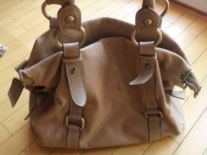Handtasche in dunklem beige - Sommerfarbe - weiches Leder