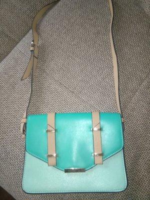 Handtasche in Farben Türkis/ Sand