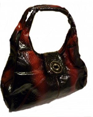Handtasche in Kroko Optik Shopper Schultertasche Business edel Lack Ledertasche