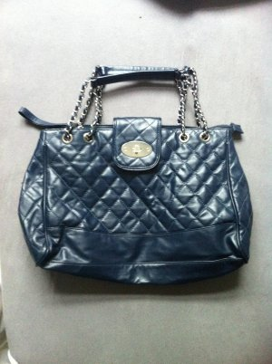 Handtasche in Leder-Optik marineblau