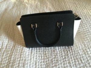 Handtasche in schwarz/creme