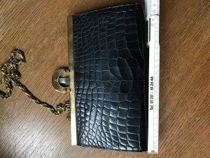Handtasche Kroko Leder schwarz