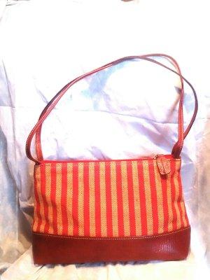 Handtasche Leder, Baumwolle, senfgelb orange zimt braun südamerika