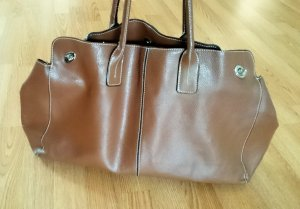 Shopper cognac-coloured-brown leather
