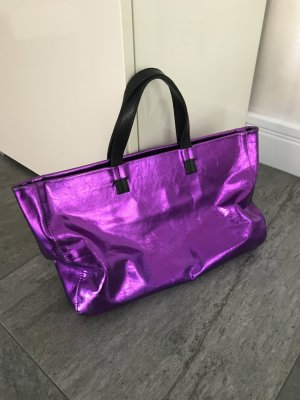 Handtasche Made in Italy aus Leder in metallic violett