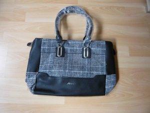 Handtasche, Marke: Aniston, Lederimitat, Tweed-Einsatz, Farbe: schwarz/weiß, neu, ohne Etikett