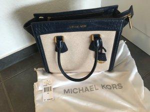 Michael Kors Borsa con manico blu scuro-crema