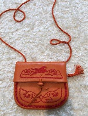 Handtasche Mini Berber Umhängetasche Echt Leder orange von Abury wie Neu