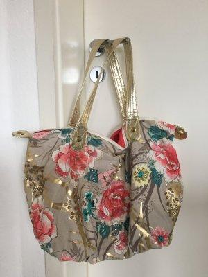 Handtasche mit Blüten und Gold- Applikationen