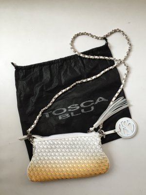 Handtasche mit Flechtmuster im Orange zu Weiß-Verlauf von Tosca Blu