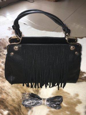 no name Fringed Bag black-sand brown imitation leather