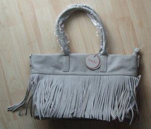 Handtasche mit Fransen von Boscha - hellgrau - NEU