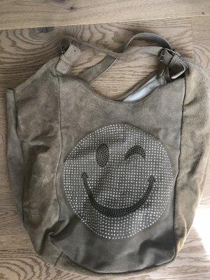 Handtasche mit Smiley im beige Ton