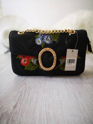 Handtasche NEU m. Etikett ✔ Blumenprint Hippie Gold Nieten Kettenriemen Schmuck Henkeltasche Blogger Tasche Hippie Trapez Tasche Clutch Abendtasche Handtasche Schultertasche
