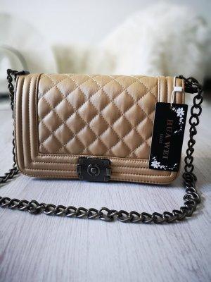 Handtasche NEU m. Etikett ✔  Boy Bag gesteppt Chain Nieten Schmuck Kettenriemen Henkeltasche Blogger Tasche Hippie Trapez Tasche Clutch Abendtasche Handtasche Schultertasche Gold