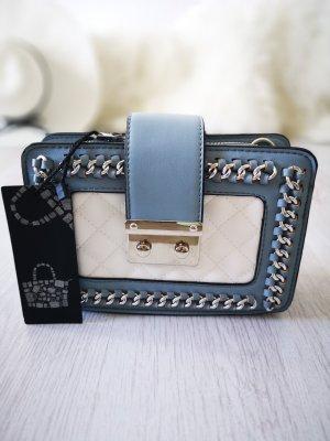Handtasche NEU m. Etikett ✔ Nieten Schmuck Henkeltasche Kettenriemen Blogger Tasche Hippie Trapez Tasche Clutch Abendtasche Handtasche Schultertasche hellblau