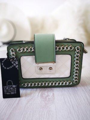 Handtasche NEU m. Etikett ✔ Nieten Schmuck Henkeltasche Kettenriemen Blogger Tasche Hippie Trapez Tasche Clutch Abendtasche Handtasche Schultertasche Khaki