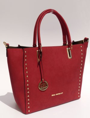 Handtasche neu rot Henkeltasche mit Nieten Miss Germany Premium Collection