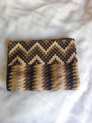Handtasche Oversize Clutch Pull & Bear Aztec Ethno Style gewebt braun gold
