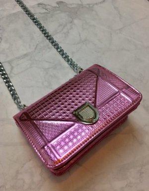 Handtasche pink metallic rosa Tasche silber neu
