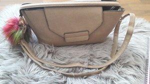 Handtasche Schultertasche fell beige nude clutch