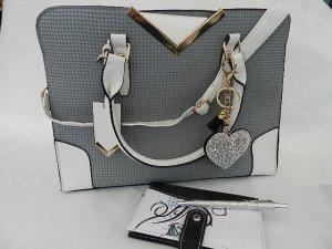 Handtasche/Schultertasche grau/weiß - NEU