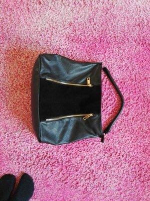Handtasche Schultertasche Schwarz mit goldenen Details