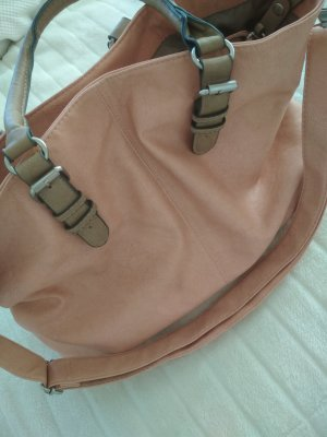 Borsa shopper rosa pallido-beige Tessuto misto
