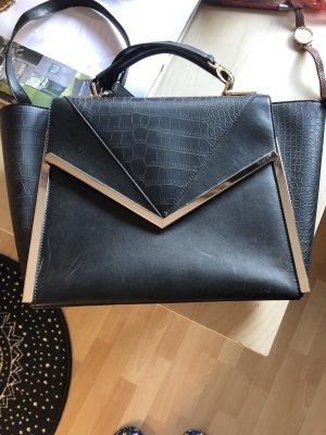Handtasche schwarz mit Gold Leder-Look Umhängetasche Tasche Business