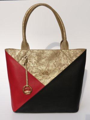 Handtasche schwarz rot gold neu Tasche Damentasche Henkeltasche Miss Germany